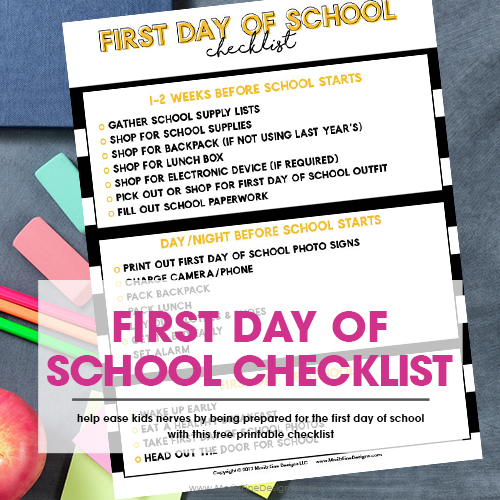 First Day of School Checklist