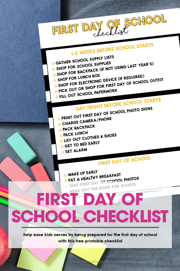 First Day of School Checklist | Free Printable Back to