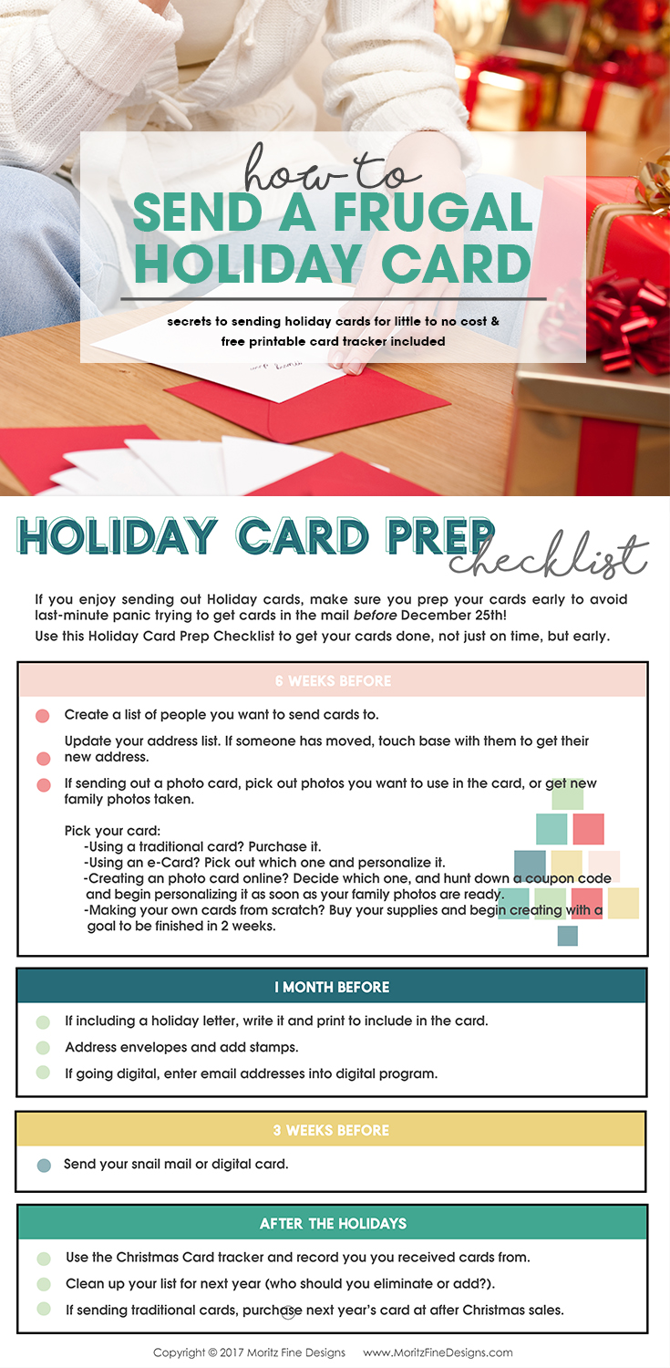 Learn How to Send a Frugal Holiday Card with this Step-by-step guide to sending holiday cards. Includes a free Printable Holiday Card Checklist. #frugalchristmascard #holidaycard #cheapholidaycards #freeprintable
