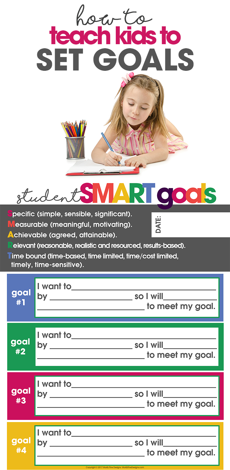 How to Teach Kids to Set Goals | Free Printable Goal List | easy SMART goals for kids, teens & adults | goal setting