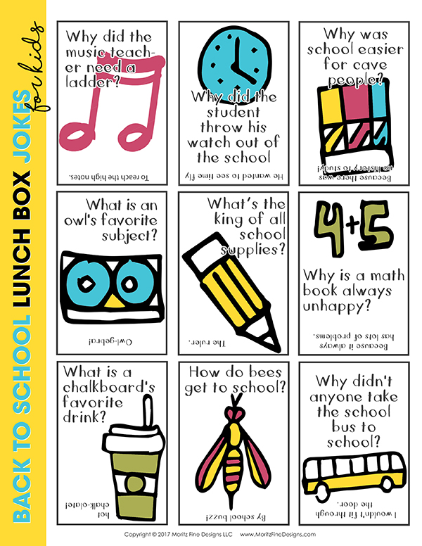 back to school lunch box jokes | free printables for kids | make your kids laugh | funny lunch box jokes