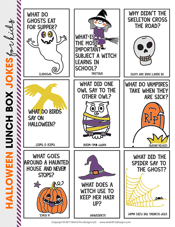 Halloween lunch box jokes | free printables for kids | make your kids laugh | funny lunch box jokes