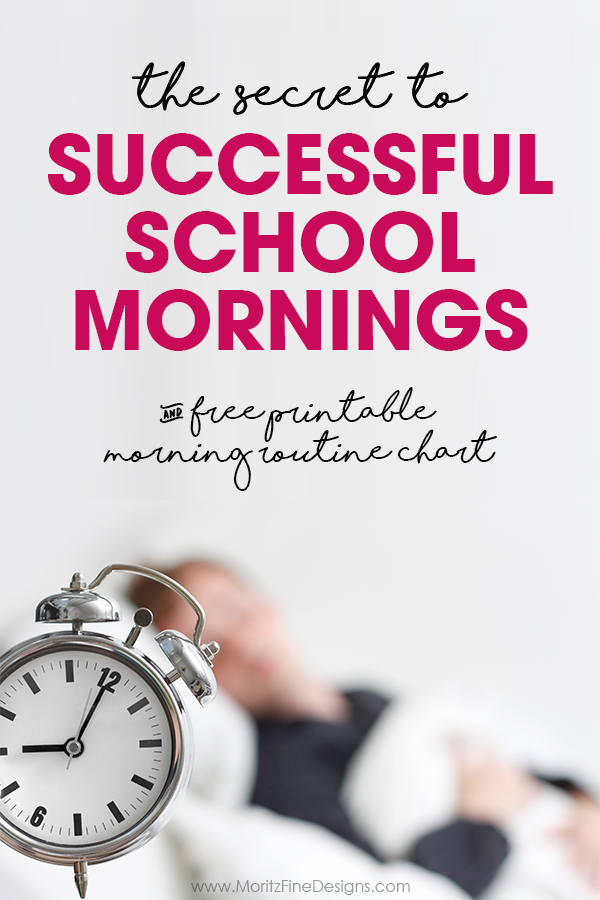 The Secret to Successful School Mornings | free printable | morning routine chart | kids, tweens & teens morning chart