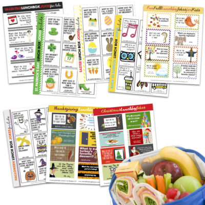 Printable Lunch Box Jokes for the entire school year. Simply print, cut, and place in your kid's lunch box.