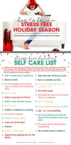 How to Have a Stress Free Holiday Season   Free Self Care Checklist   5 Simple action steps to eliminate holiday season overwhelm   Free Printable