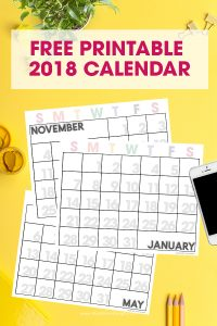 Free 2018 Printable Calendar | Get organized | Monthly Printable Calendar | ink friendly with large numbers and completely editable