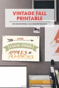 vintage fall printable | free printable | home decor for autumn | farm fresh apples & pumpkins