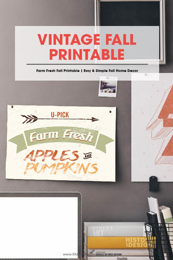 vintage fall printable | free printable | home decor for autumn | farm fresh apples & pumpkins