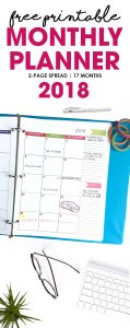 Free Printable Monthly Planner Calendar | 2018 | 2-Page spread includes 17 months