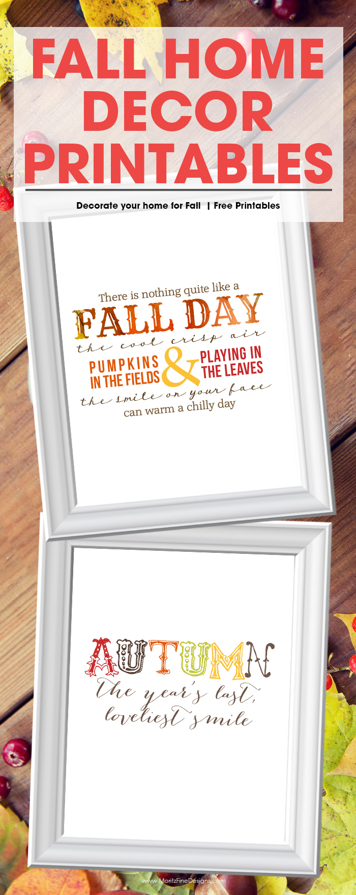 Update your home for fall with these free Fall Home Decor Printables. This is an easy and inexpensive way to add seasonal decorations to your home.