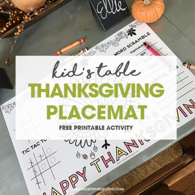 Thanksgiving Table Placemat for Kids   Free printable activity placemat   easy to download and print   Simple Thanksgiving Kid Table Ideas