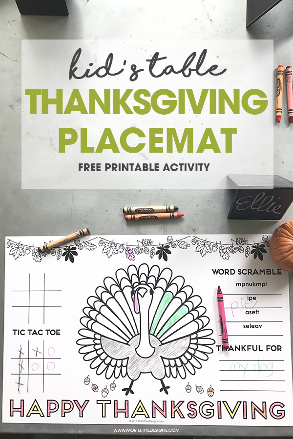 Thanksgiving Placemat for Kids | Free printable activity placemat | easy to download and print | Simple Thanksgiving Kid Table Ideas
