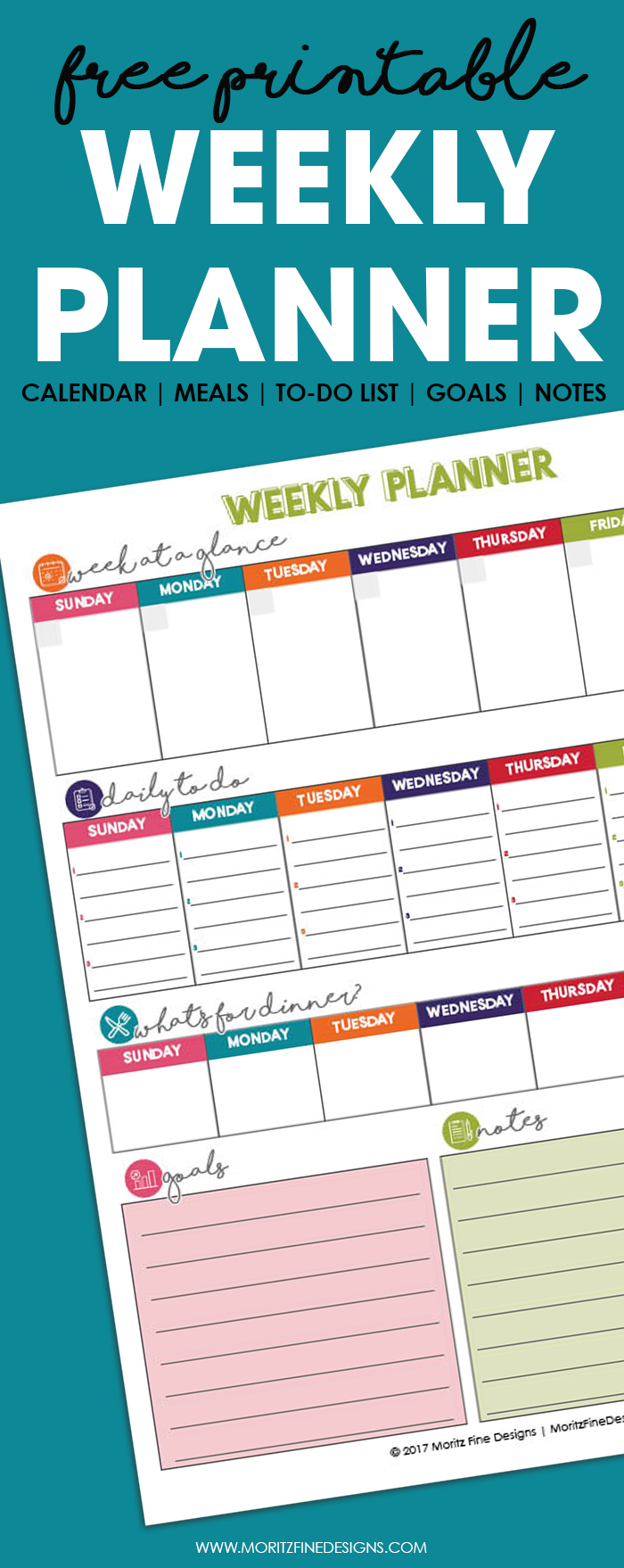 This free printable undated Weekly Planner is the best way to get your entire week organized. It includes a calendar, meal plan, to-do list, goals and notes all on one easy to manage page. #printableplanner #calendarideas #weeklyspread #weeklyplanner #freeprintableorganizer #MealPlanning