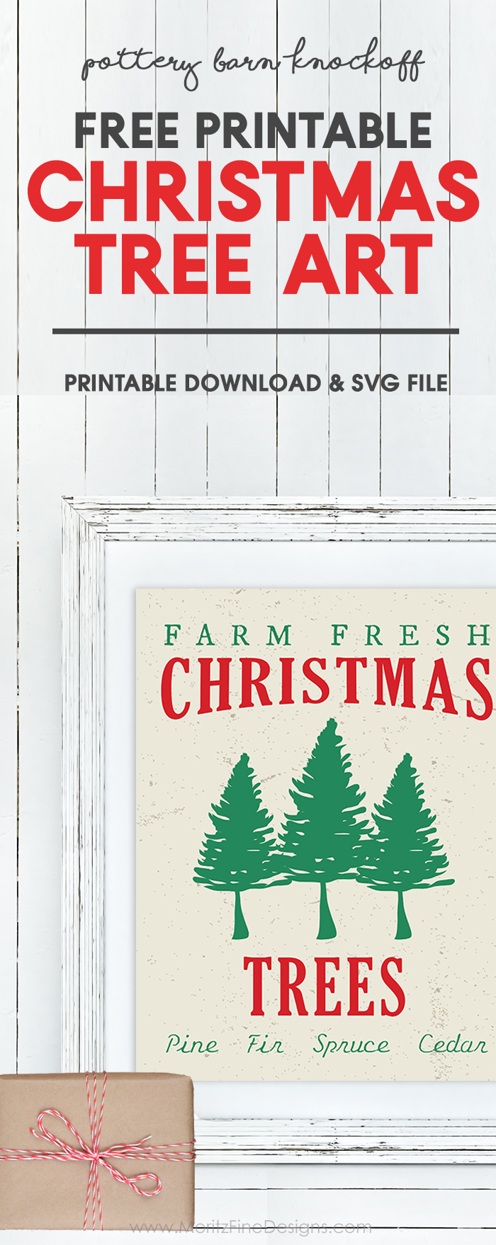 Update your Christmas Decor with this free printable Pottery Barn knockoff Christmas Tree Art Printable. The design is also available in an svg cut file for your Cricut or Silhouette Machine. I made it into an oversize print for poster size!  #christmasdecoration