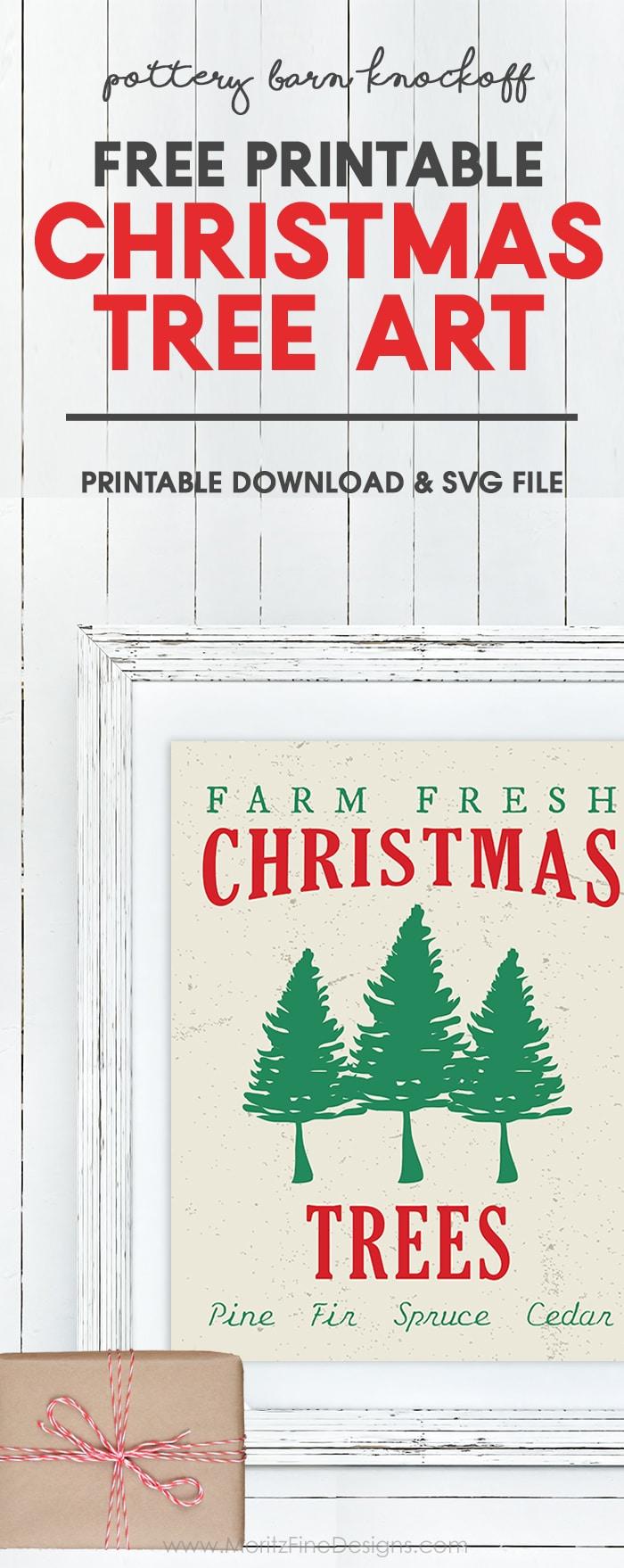 Christmas Tree Art Printable Pottery Barn Knockoff