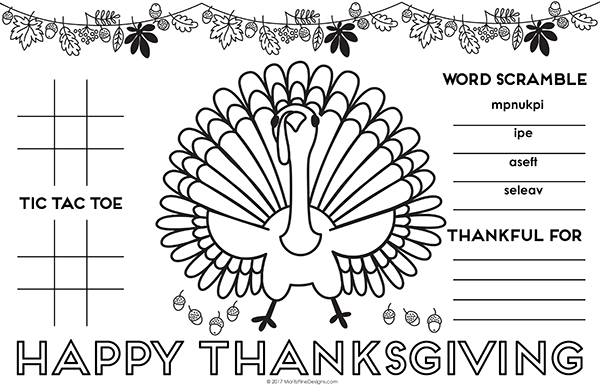 photo about Thanksgiving Placemats Printable identified as Thanksgiving Placemat for Youngsters Cost-free Printable Do-it-yourself Game