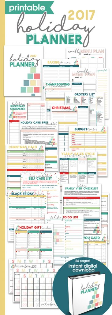 Printable Holiday Planner   Thanksgiving & Christmas Organizer   Holiday Checklists   Holiday Guide for Menu Planning, Budgeting, Gift Buying & more