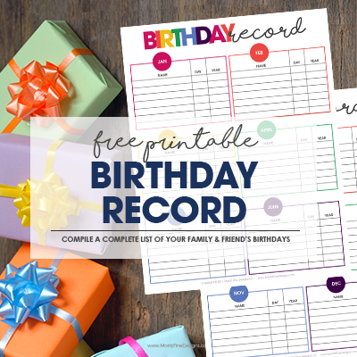 Free Printable Birthday Record