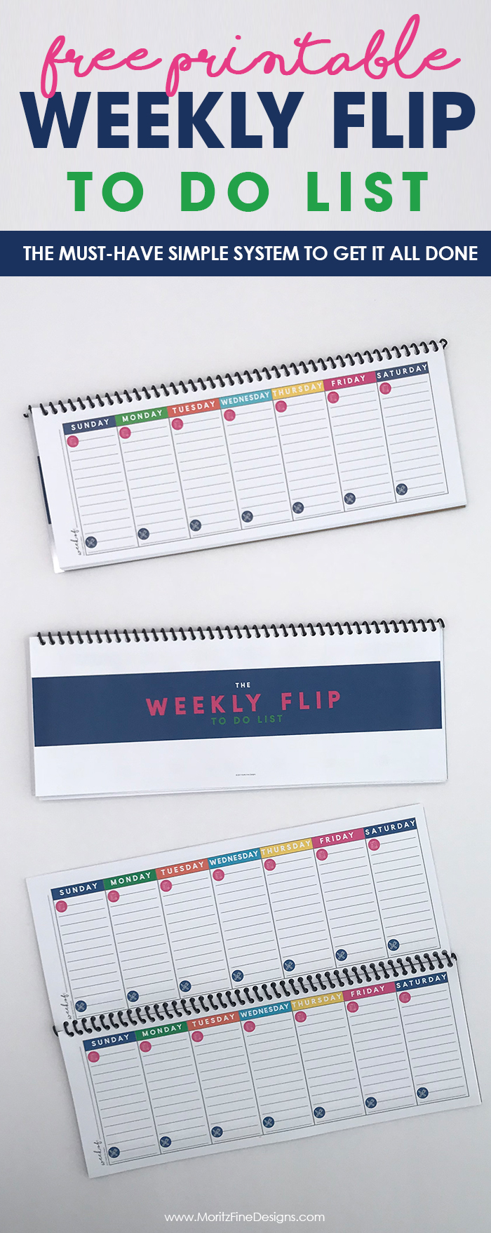 This is a must-have, simple printable weekly to-do list system to get it all done. This free system will help moms get their daily goals done and create a weekly menu plan. #todolist #weeklyspread #freeprintable #printablecalendarfree #organizationideas