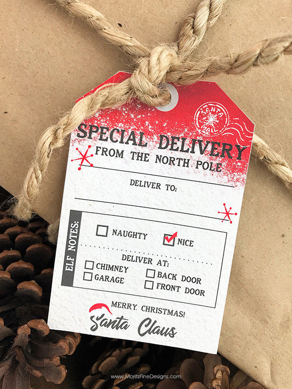 Add this free printable Santa gift tag to your kid's gift from Santa! The customizable tag shows the Christmas gift got delivered from the North Pole.