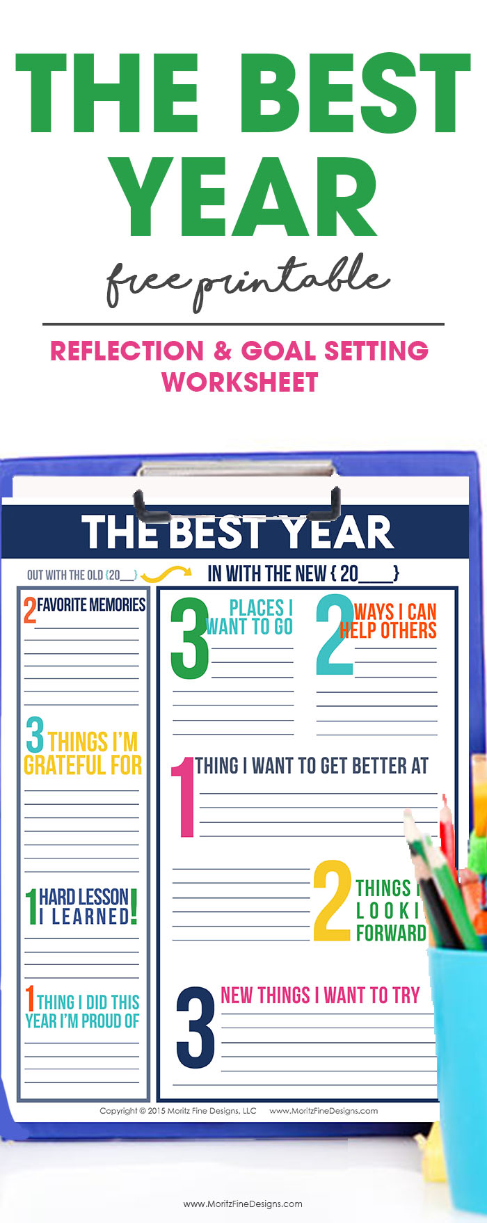 It's time to reflect on the past year and set goals for the new year using the Reflection & Goal Setting Worksheet. This worksheet is perfect for kids, adults, co-workers and more. Download now for free. #goalsetting #goalsettingforkids  #goalsettingworksheet  #newyeargoalsideas #freeprintable