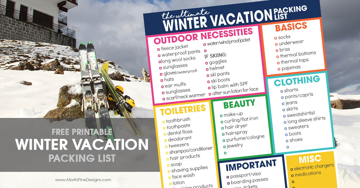 winter vacation packing list for cold weather
