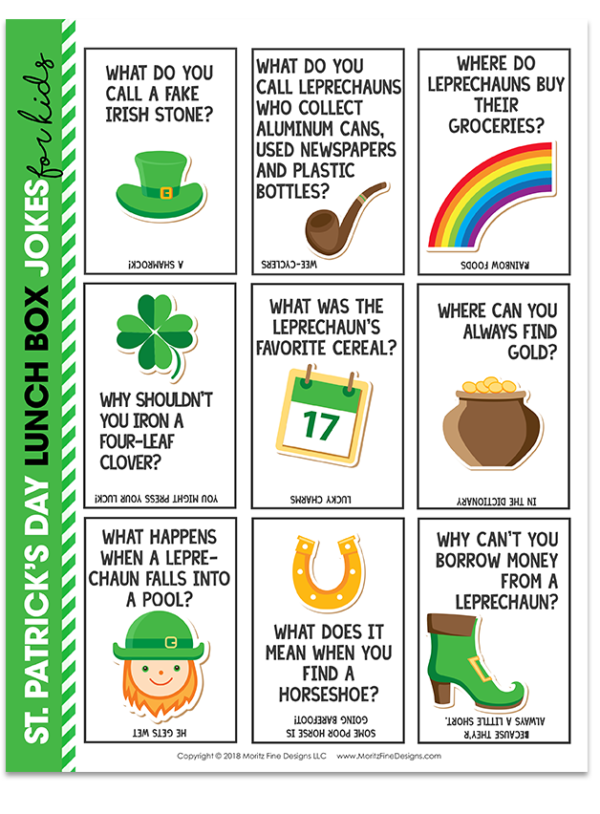 Make lunch time a blast! Get your kids laughing at lunchtime with these funny and free printable St. Patrick's Day Lunch Box Jokes.