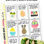 Free printable Easter Lunch Box Jokes for Kids on white background with a lunch with a bunny sandwich and chicken hard boiled egg.