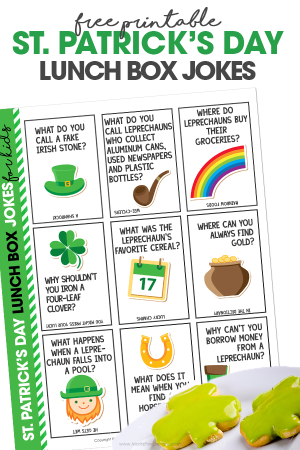 St. Patrick's Day Lunch Box Jokes on a white background with Shamrock cookies on a plate.