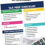 Printable Tax Prep Checklist on white background with a calculator, pencils and 1040 form.