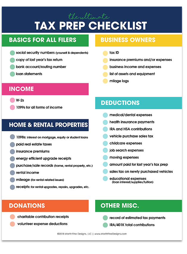 Tax season doesn't have to be a yearly struggle! Knowing what you need to prepare can make tax season a breeze when using the free printable Income Tax Prep Checklist.