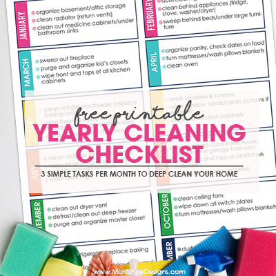 Simple Yearly Cleaning Checklist | Only 3 Tasks Each Month!