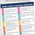 Free Printable Yearly Cleaning Checklist on white background with cleaning utensils and bottles.