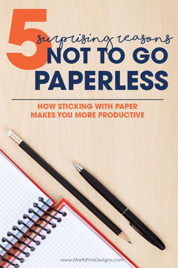 Surprisingly there many reasons not to go paperless. While Digital may seem like a great option, when you stick with paper you will find yourself much more productive. Notebook, pen and pencil on wood desk.