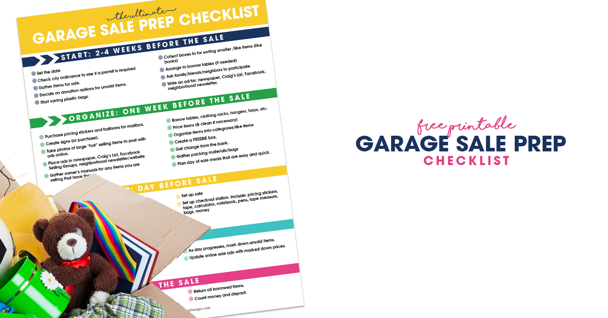 garage sale prep checklist free printable organizer for garage sales