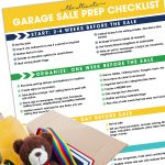 Garage Sale Prep Checklist on white background with box of items to be donated.