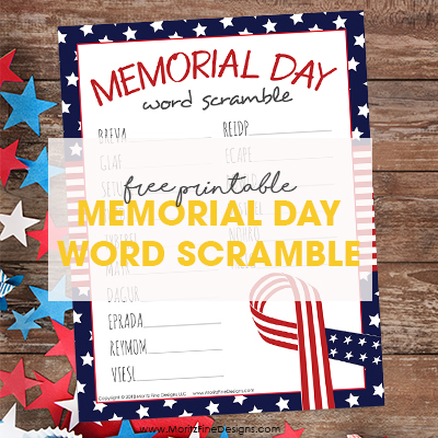 Memorial Day Word Scramble for Kids