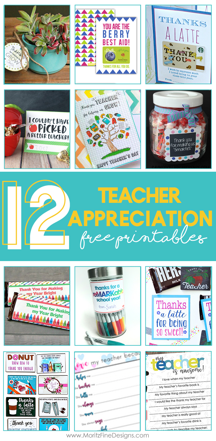 Have you got some ideas about what to give to teachers show gratitude and attention for accompanying children in the school time? Today I would like to share 12 teacher appreciation printables to give separately or to accompany other gifts you prepare for teachers. #teacherappreciation #printable #teachergiftideas #teachergifts