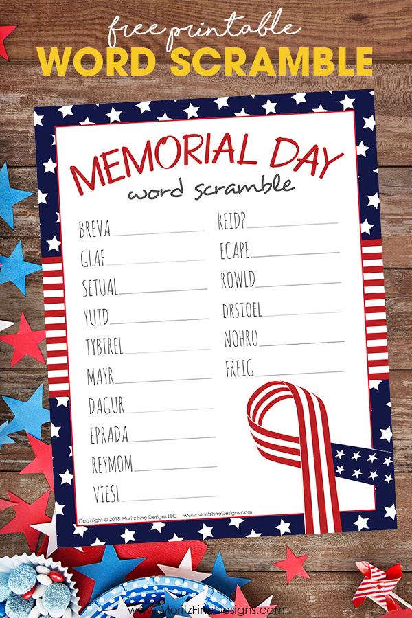 photograph regarding Closed for Memorial Day Printable Sign referred to as Totally free Printable Memorial Working day Term Scramble for Young children