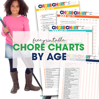 Not sure what chores your kids can do that are age appropriate? Use these free printable Chore Charts by Age with a manageable chore list for your child.