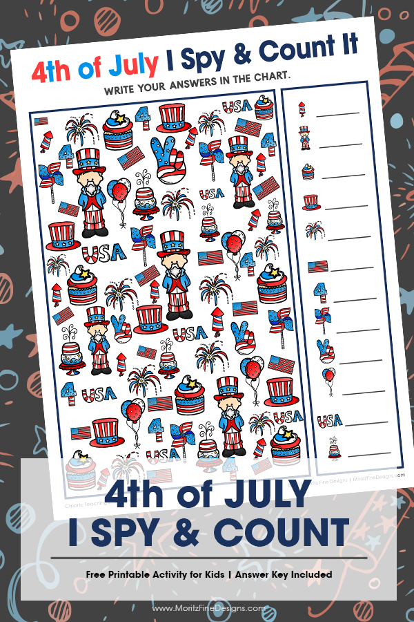 Your kids will have a blast with this fun free printable 4th of July I Spy Activity for kids. It's the perfect game for in the car, at a party or at home!
