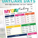 """Use this free printable """"My Day"""" Daycare Report and be confident that you know what happened with your child while they spend the day with their caregiver."""
