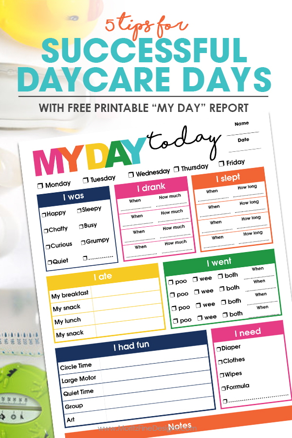 "Use this free printable ""My Day"" Daycare Report and be confident that you know what happened with your child while they spend the day with their caregiver."