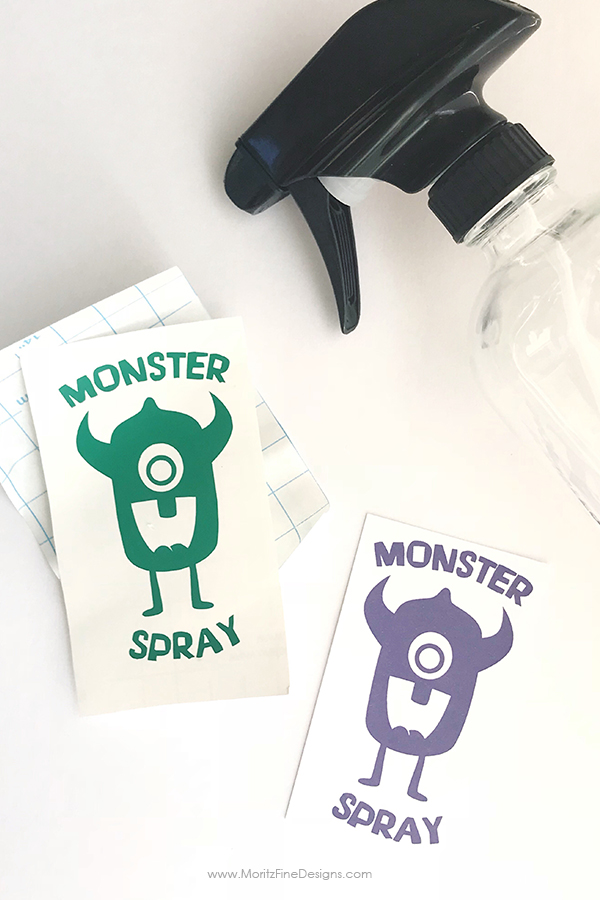 Keep those bed time monsters away! Spray this DIY Monster Spray under the bed and in the closet. Get this free printable label to make your Monster Spray.