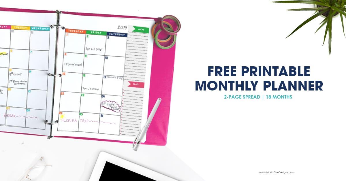 2018 2019 monthly planner calendar free printable planner