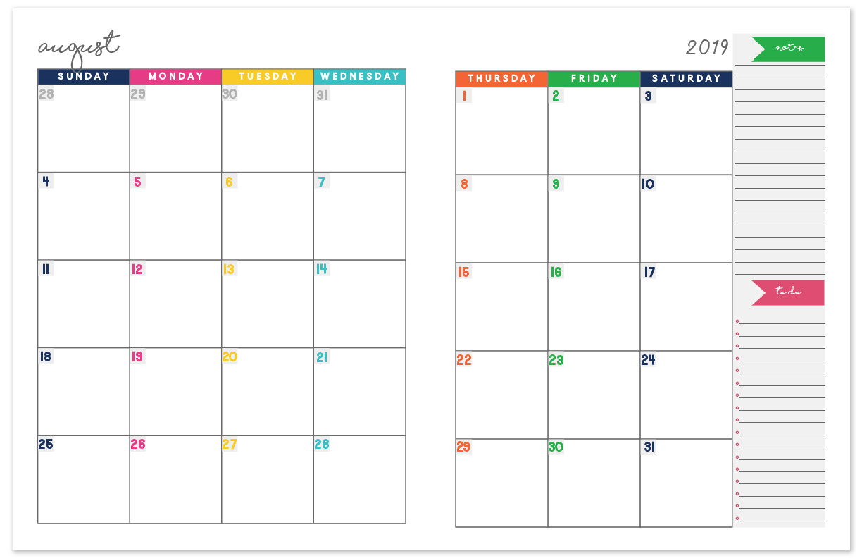 2 Page Calendar Template 2019 2018 2019 Monthly Planner Calendar | Free Printable Planner