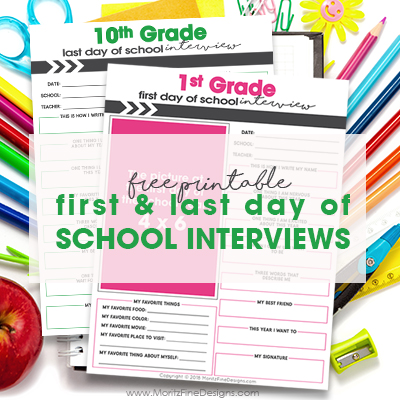First & Last Day of School Interview for Kids