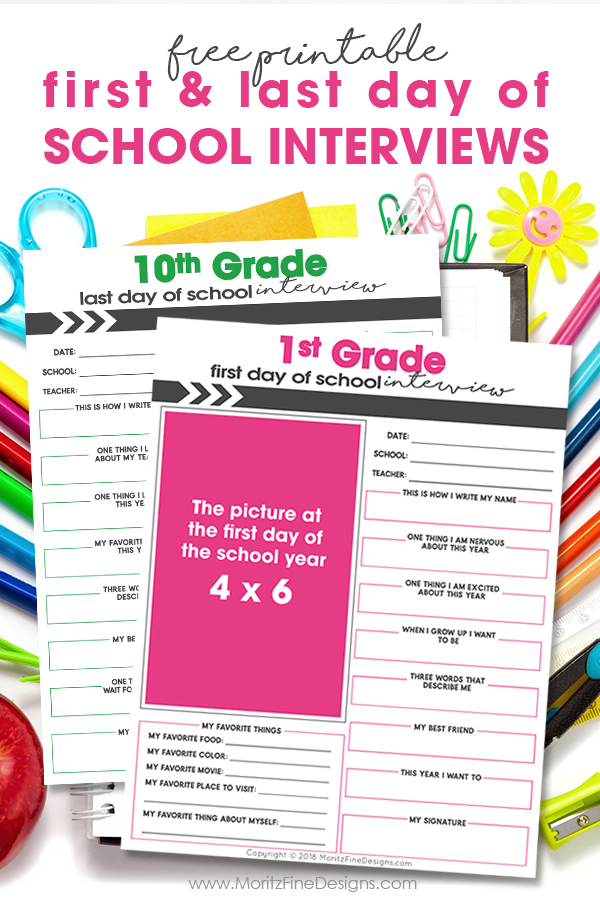 Your kids can tell all about themselves as they enter and leave each grade with these fun free First & Last Day of School Interview printables.