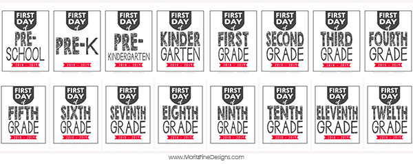 Use these First Day of School Photo Signs for your kids when you take their back to school picture so you easily identify the grade they are entering.