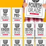 Use these First Day of School Photo Signs for your kids when you take their back to school picture so you easily identify the grade they are entering.#backtoschoolphotos #freeprintable #backtoschoolideas #schoolphotosign